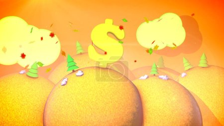 A childlike 3d illustration of a sunny autumn landscape with orange hills, colored fir trees, yellow lawns, flying leaves and golden sky with white clouds, large dollar symbol.