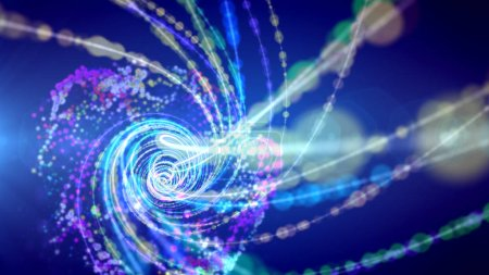 A magic 3d illustration of sparkling spirals forming a time portal among constellations of stars in a dark violet universe. They generate the mood of optimism, innovation and progress.