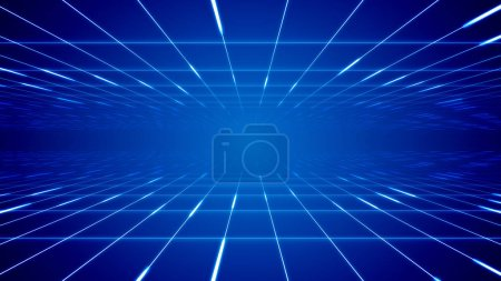 Sci-fi 3d illustration of a time portal looking like two moving surfaces covered with square networks in the blue background. It generates the mood of future and technology.
