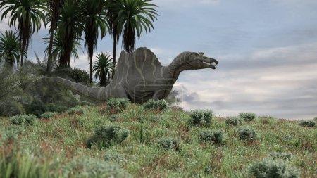 Photo pour 3d rendu de la th chasse spinosaurus sur la colline - image libre de droit