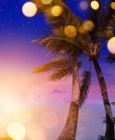 Foto de Tropical verano playa noche fiesta backgroun - Imagen libre de derechos