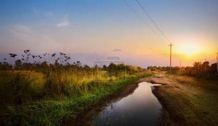 Foto de Camino de tierra otoñal en el campo de tierras de cultivo después de la lluvia; Paisaje de paisaje sano - Imagen libre de derechos