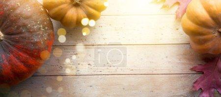 Foto de Autumn pumpkin harvest season background; thanksgiving holiday banne - Imagen libre de derechos