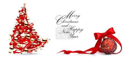 Foto de Christmas tree decoration on white background; Christmas greeting card  or seasonal banner background; - Imagen libre de derechos