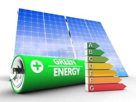 3d illustration of battery with solar panel and efficient ranks over white background