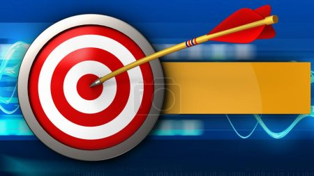 3d illustration of target with arrow over blue waves background