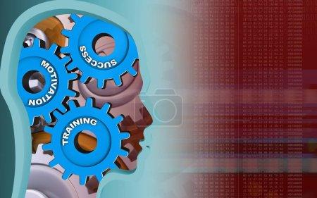 3D ilustracja profil główki z biegami na czerwonym tle