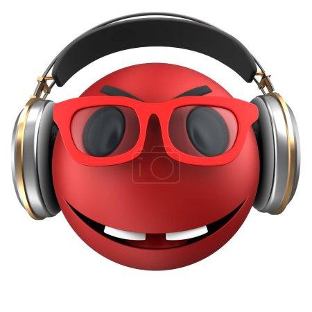 Photo pour Illustration 3D d'emoticon rouge sourire avec un casque sur fond blanc - image libre de droit