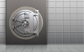 3d illustration of metal box with steel bank door over white wall background