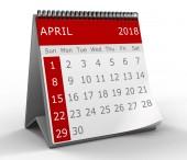 3d illustration of flip page calendar of april 2018 year, close-up