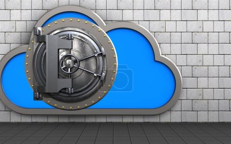 3d illustration of cloud with vault door over white stones background