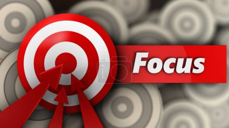 3d illustration of target with focus sign over multiple targets background