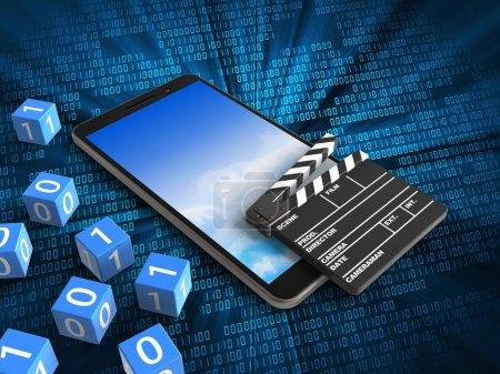 Photo pour Illustration 3D de téléphone portable avec cubes binaires et clap de cinéma sur fond numérique - image libre de droit