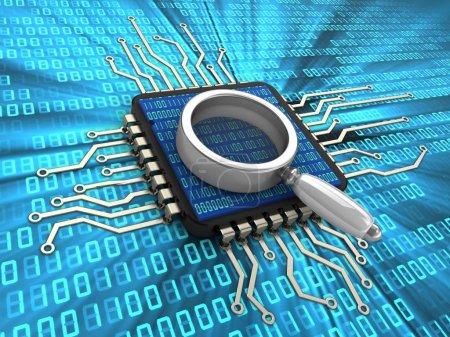 Photo pour Illustration 3D de puce d'ordinateur avec loupe et code binaire à l'intérieur sur fond numérique - image libre de droit