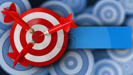 Photo for 3d illustration of target with three darts over targets background - Royalty Free Image
