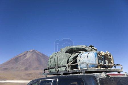 Terrain vehicle at laguna Verde in Bolivia