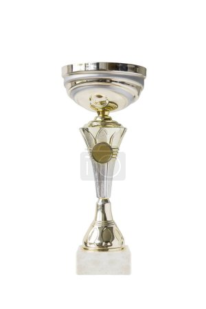 View at shiny trophy isolated on the white background