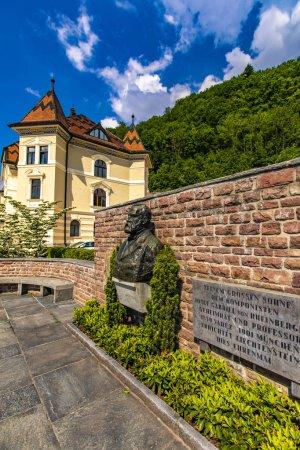 View at statue of composer Josef Gabriel von Rheinberger in Vaduz, Liechtenstein