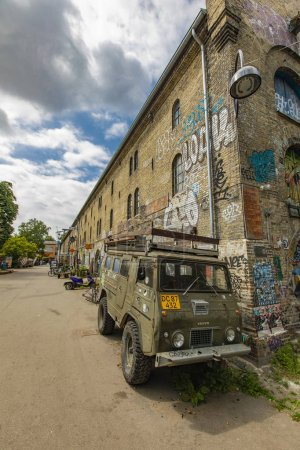 COPENHAGEN, DENMARK - JUNE 14, 2018: Detail from Freetown Christiania in Copenhagen, Denmark. Christiania is a self-proclaimed autonomous anarchist district founded at 1971.
