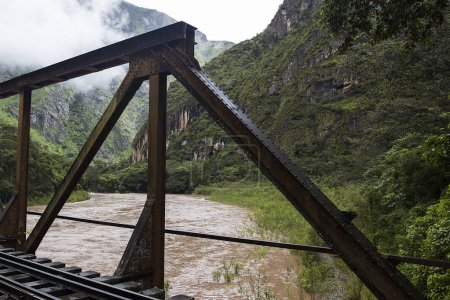 Closeup of the bridge n Urubamba river in Peru, South America