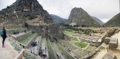 OLLANTAYTAMBO, PERU - DECEMBER 31,2017: Unidentified people at Colossal Sanctuary of Ollantaytambo in Peru. It is Inca archaeological site in southern Peru, 72 km from city of Cusco.