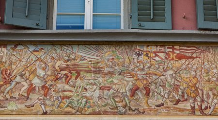RAPPERSWIL, SWITZERLAND - MAY 18, 2018: Detail of decorative facade in Rapperswil, Switzerland. Rapperswil is historic town on the south end of Lake Zurich.