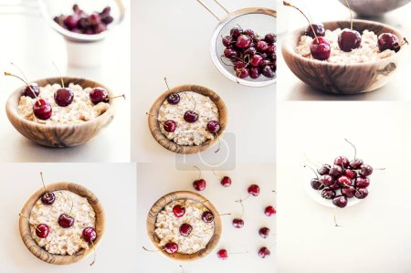 Photo for Collage of various photos with cereal breakfast with cherries - Royalty Free Image
