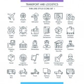 Transport and logistic line icons 01