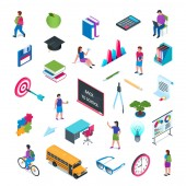School and education isometric icon set 02