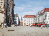 DRESDEN, GERMANY - JUNE 11, 2014: Tourists visiting the Neumarkt new market square