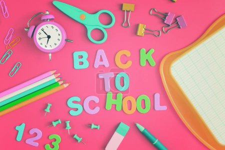 Back to school poster with accessories scattered around randomly.
