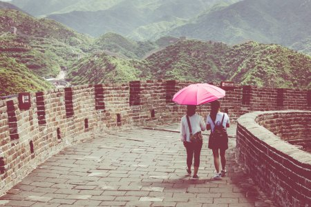 Panoramic view of Great Wall of China at Badaling in the mountains in the north of the capital Beijing