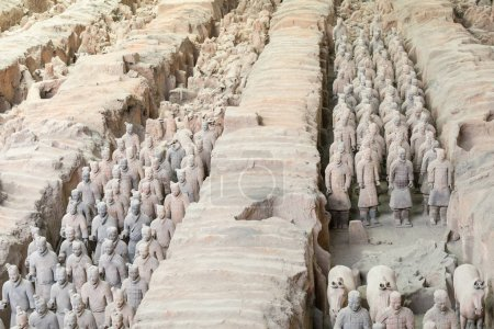XIAN, CHINA MAY 24, 2018 The Terracotta Army warriors at the tomb of Chinas First Emperor in Xian. Unesco World Heritage site.