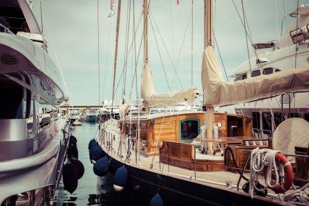 LA CONDAMINE, MONACO - JUNE 04, 2019: Yachts docked at Port Herc