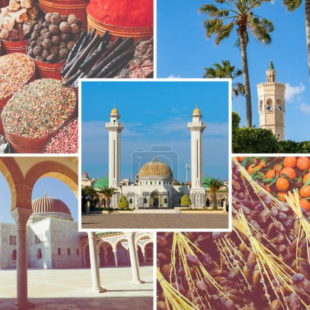 Photo for Collage of popular tourist destinations in Tunisia. Travel background. - Royalty Free Image