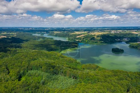 Photo for Aerial view of Kashubian Landscape Park. Kaszuby. Poland. Photo made by drone from above. Bird eye view. - Royalty Free Image