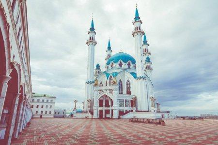 KAZAN, RUSSIA - SEPTEMBER 15, 2019: View on Kul Sharif mosque in