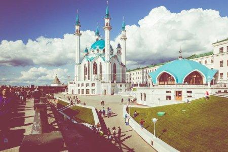 KAZAN, RUSSIA - SEPTEMBER 08, 2019: Kul Sharif Mosque is the mai