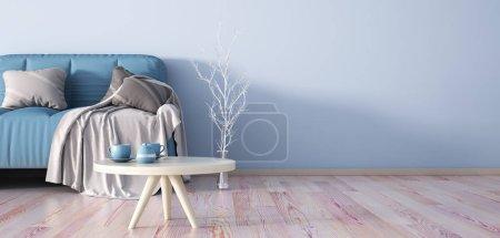 Foto de Diseño interior de moderna sala de estar con sofá, render 3d y mesa de centro - Imagen libre de derechos