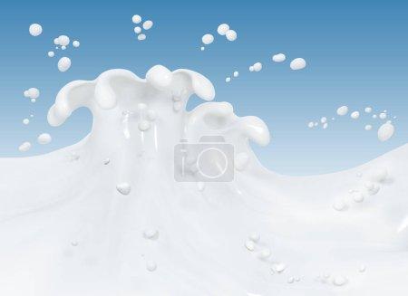 Foto de Resumen de leche salpicaduras sobre fondo azul, aislado render 3d - Imagen libre de derechos