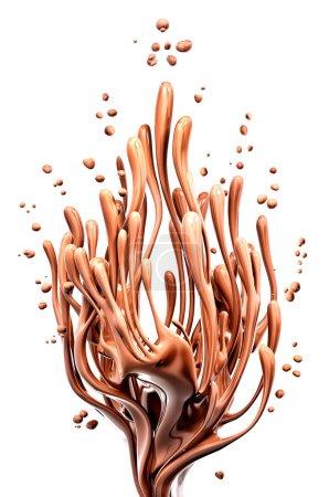 Foto de Café o dinámico chocolate oscuro caliente salpique, líquido splash, Ilustración 3d de alimentos aislado sobre fondo blanco - Imagen libre de derechos
