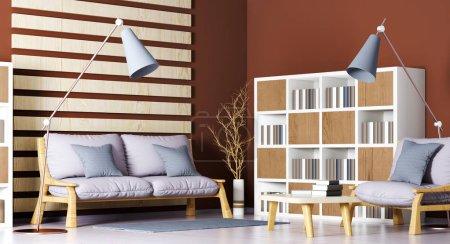 Foto de Diseño interior de moderna sala de estar con sofá, Sillón, estantería, mesa de centro y lámpara de pie, render 3d - Imagen libre de derechos