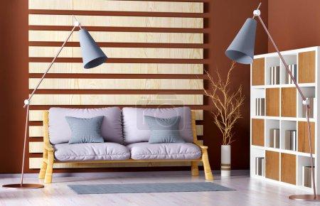 Foto de Diseño interior de moderna sala de estar con sofá, estantería y lámpara de pie, render 3d - Imagen libre de derechos