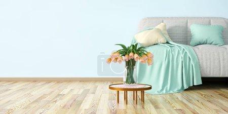 Foto de Diseño interior de moderna sala de estar con sofá, mesa de café y flores render 3d - Imagen libre de derechos