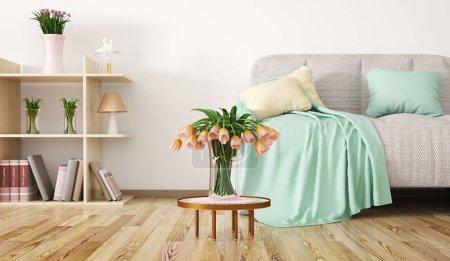 Foto de Diseño interior de sala de estar moderna con sofá, mesa de café y estantería, flores de renderizado 3D - Imagen libre de derechos