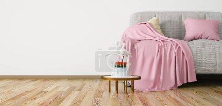 Foto de Diseño interior de sala de estar moderna con sofá, símbolo de amor y la representación 3D de la mesa de café - Imagen libre de derechos