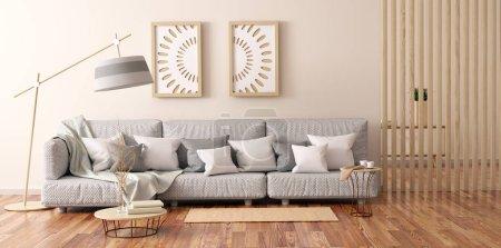 Foto de Diseño interior de sala de estar moderna con sofá gris, mesa de centro con libros y gabinete, renderizado en 3D - Imagen libre de derechos