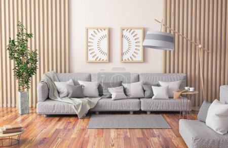Foto de Diseño interior de sala de estar moderna con sofá gris, mesa de centro con libros y planta, renderizado en 3D - Imagen libre de derechos