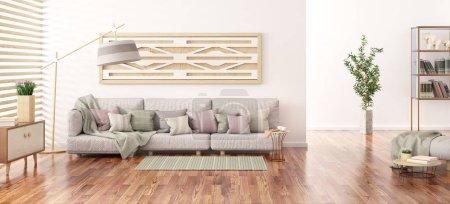 Photo pour Design intérieur de salon moderne avec canapé gris, bibliothèque avec livres et armoire, rendu 3D - image libre de droit