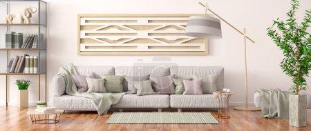 Foto de Diseño interior de sala de estar moderna con sofá gris, estantería con libros y flores, renderizado en 3D - Imagen libre de derechos